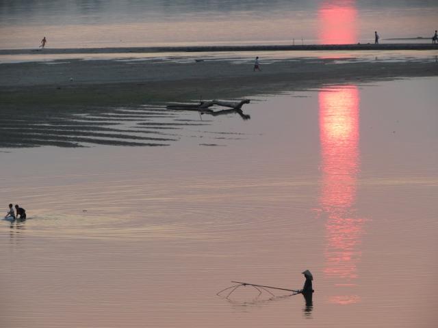 coucher de soleil Mekong Vientiane